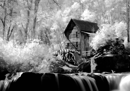 Glade Creek Grist Mill in Infrared