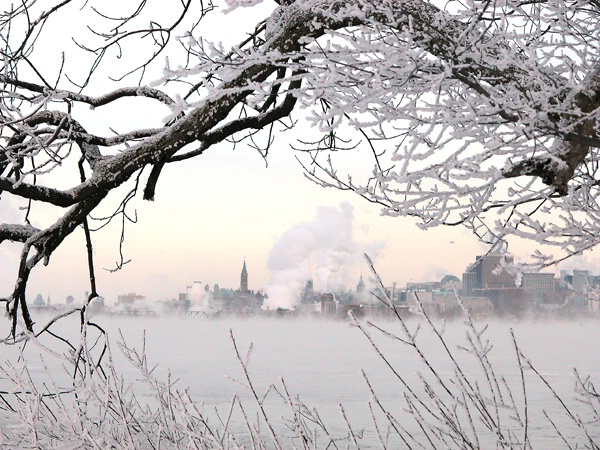 Frosty view of Parliament hill