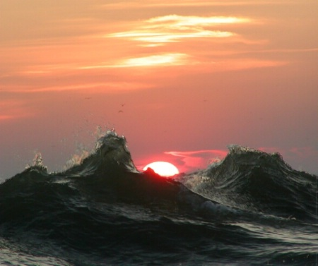 Waves, Mist, Sunset
