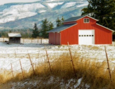 The Red Barn in Winter