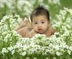 Baby on white flo...
