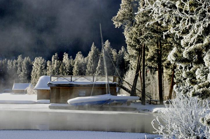 Ice fog on Grand Lake