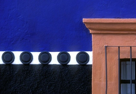 Red Window, Blue Wall, Black Dots