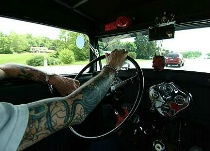 """""""Ace"""" driving his '32 Duece Coupe"""