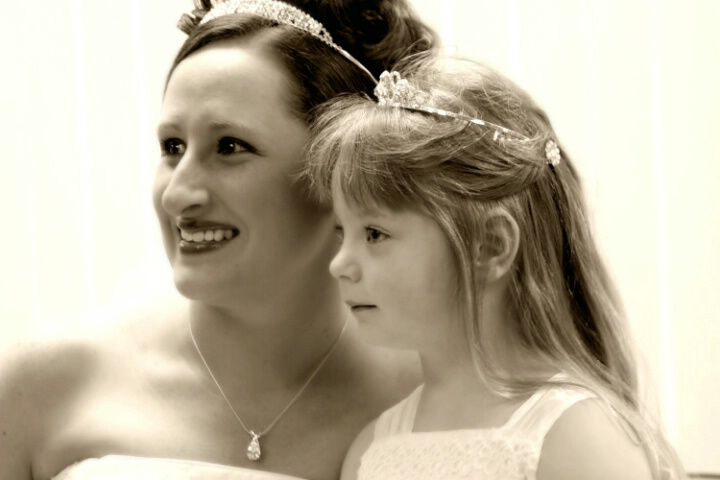 The bride and her flowergirl