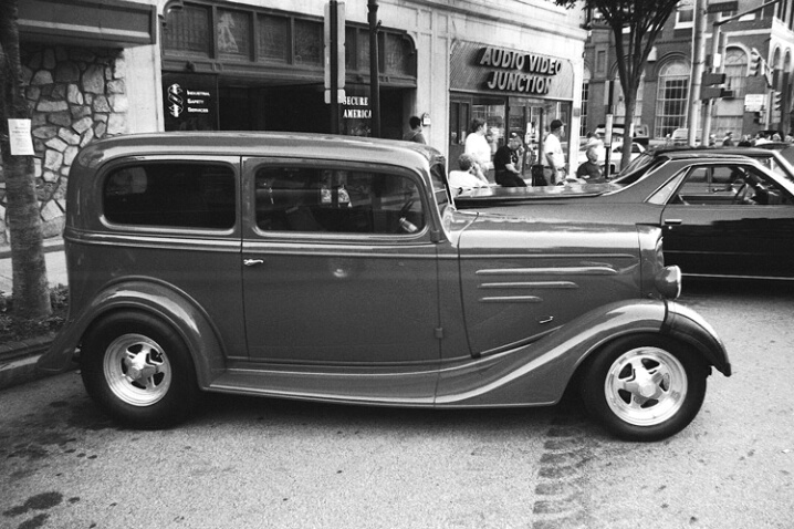 Car on High Street (B&W)
