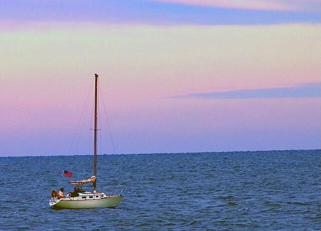 Sailboat at Sunset - Lake Michigan