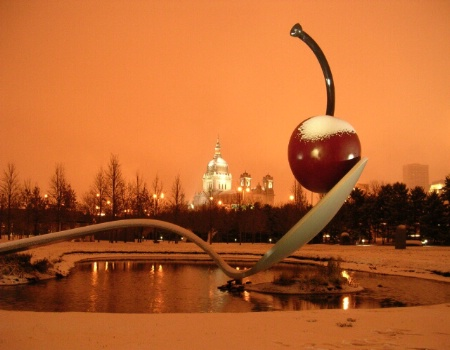 Spoon and Cherry Sculpture in Snowstorm