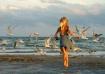 girl chasing seag...