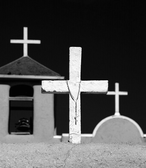 Cross w/Rosary - black&white