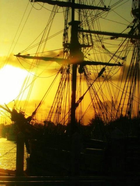 Lady Washington in the Bay at Sunset