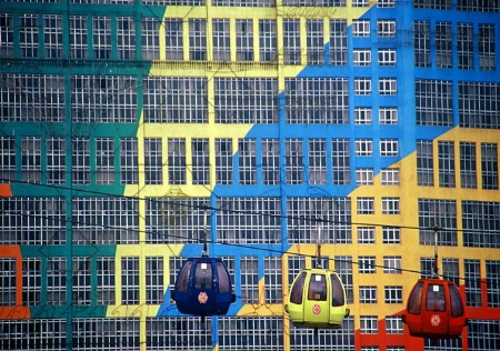 Blue, Yellow and Red Cable Cars