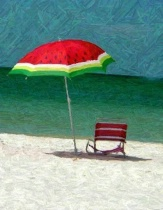 Umbrella and chair
