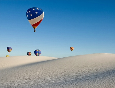 Hot air balloons over the White Sands