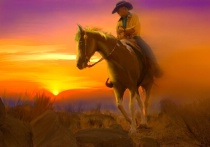 Photography Contest Grand Prize Winner - October 2005: Painter Painting of Southwest Equestrian Sunset