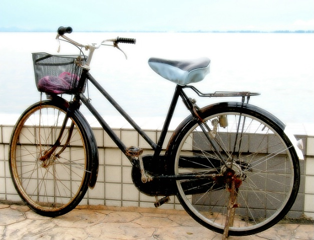 Dreamy Old Bike with Basket by the Sea