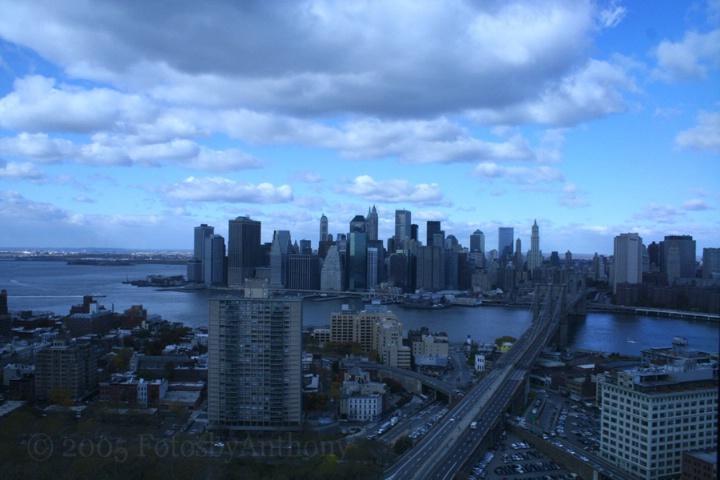 Blue Sky Over Brooklyn Bridge