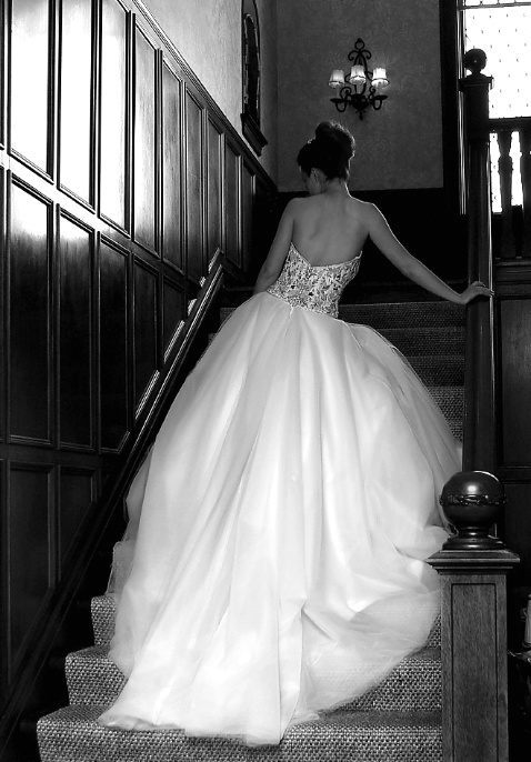 Sarah on the Stairs, Bridal Portrait in BW
