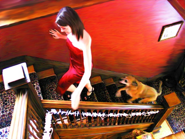 red dress ascending stairs with dog