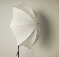 Umbrella set-up for shoot through lighting
