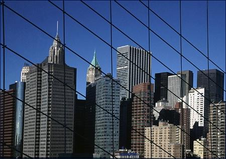 Scene through Brooklyn Bridge