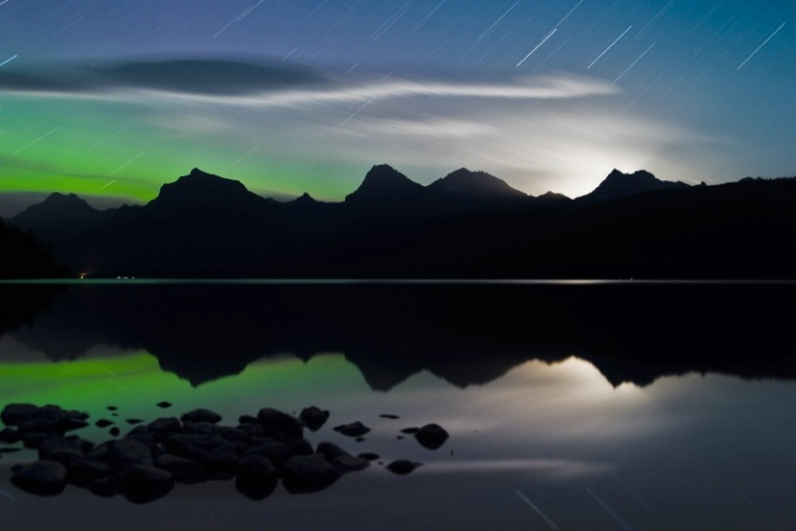 Lake McDonald Moonrise Star Trails