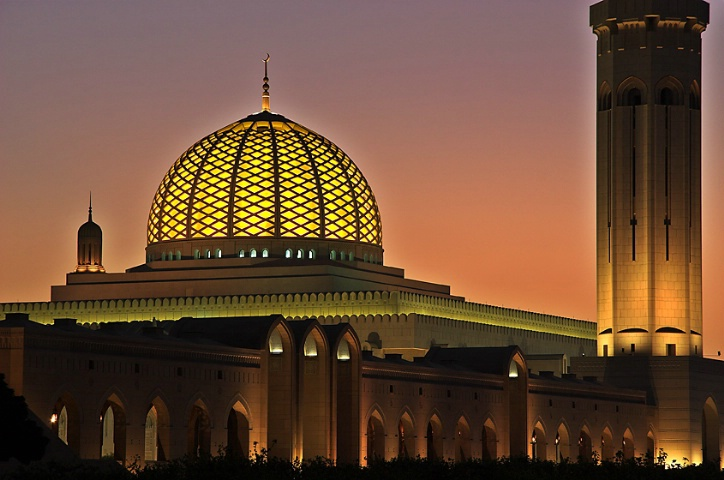 Grand Mosque in twilight glow