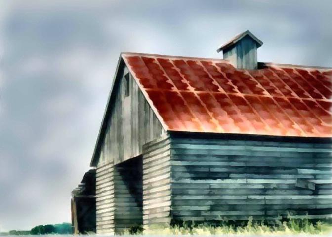 rusty roofed barn