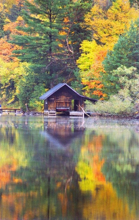 Old Boat House In The Fall. Muskoka