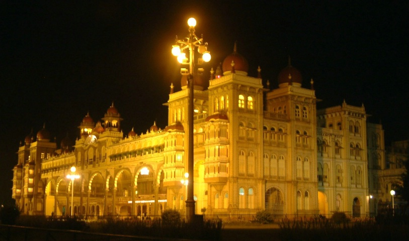 Glowing Mysore Palace in normal lights