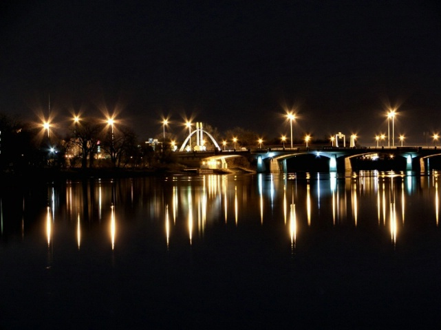 Norwood Bridge Reflecting Off The Red River