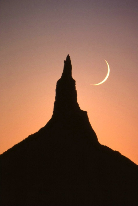 Chimney Rock with Crescent Moon - Bayard-Nebraska - ID: 3126862 © Larry Lightner