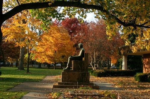 Lincoln Statue at Lincoln College in Autumn - ID: 3196770 © Donald E. Chamberlain