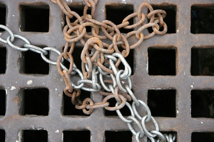 chained together