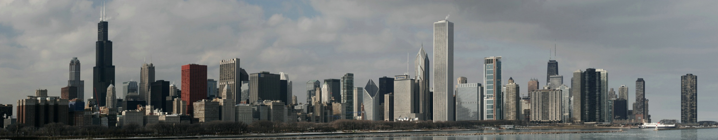 Wintery Windy City Afternoon Cityscape