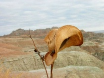 Lonely Cowboy Hat in the Badlands