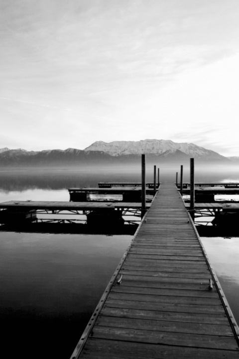 Morning on the Dock (B&W)