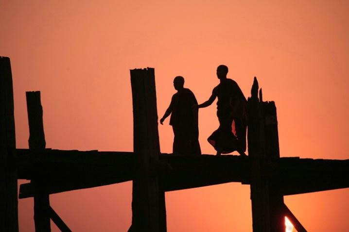 Two Monks on U Bein's Bridge