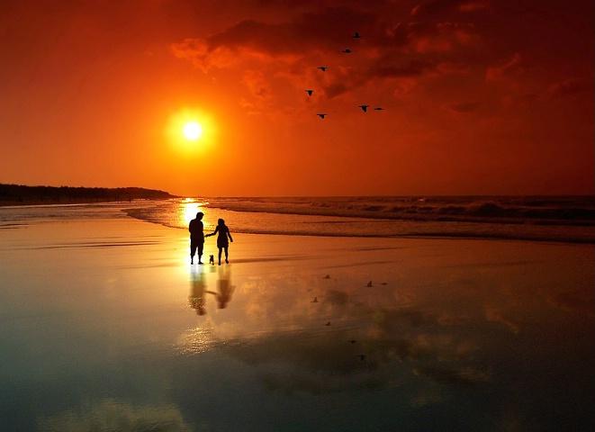 walking at sunset