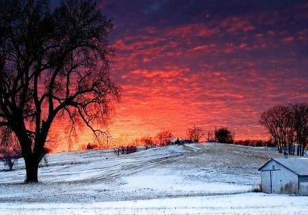 Winter Sunset in Nebraska