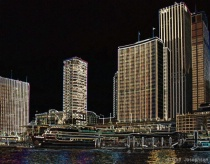 Cityscape with glowing edge filter.