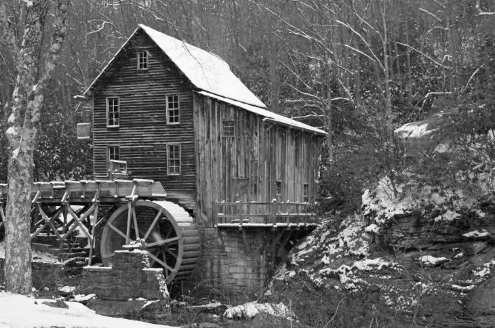 Glade Creek Grist Mill in B&W - ID: 3693744 © Lisa R. Buffington