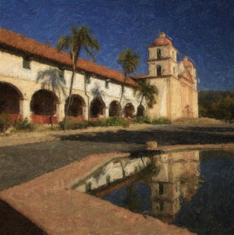 Santa Barbara Mission Reflection - ID: 4118402 © Leslie McLain