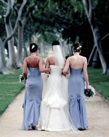 Bride and Bridesmaids on their way to altar