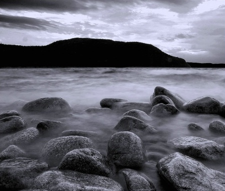 Black and white lake superior