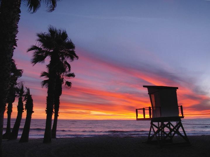 Capo Bch Tower w/Palms Sunset - ID: 5483934 © Daryl R. Lucarelli