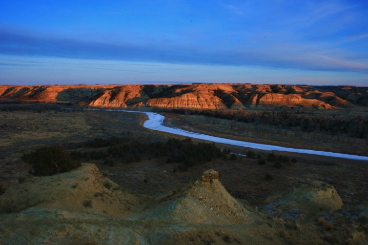 Last light catching the Badlands