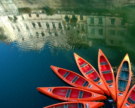 Kayaks and Reflection - Ljubljana, Slovenia