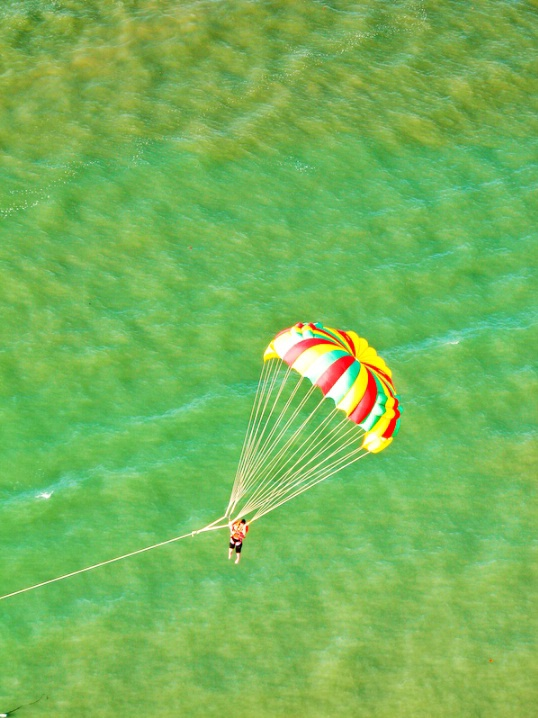 Parachute over Green Ocean Water