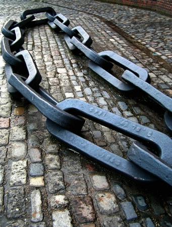 A blue anchor chain
